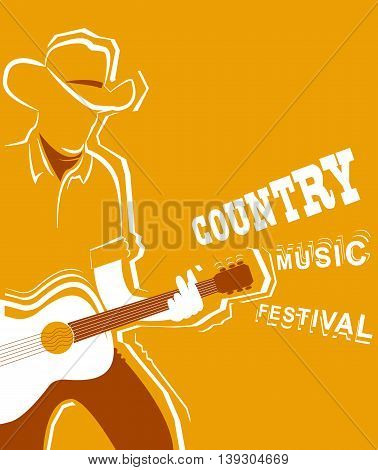 Country Music Festival Poster With Musician Playing Guitar
