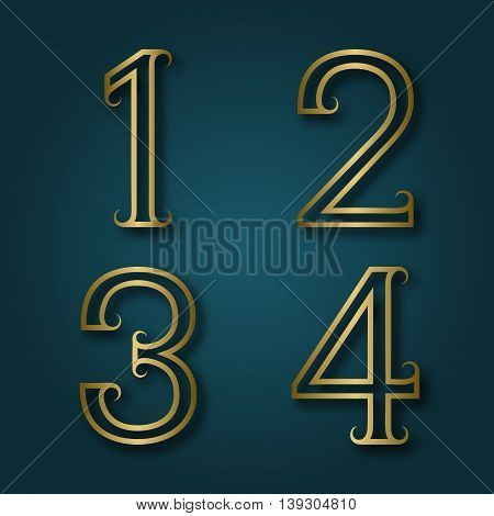 One two three four shiny golden numbers with shadow. Outline font with flourishes in art deco style.