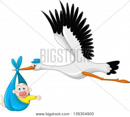 stork take baby cartoon flying for you design