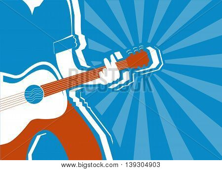 musician and guitar background.Vector blue poster illustration