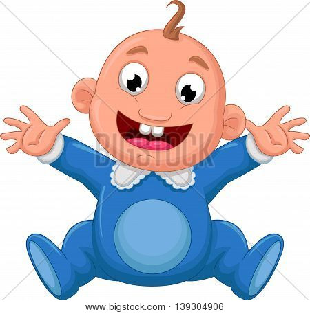 happy baby cartoon posing for you design