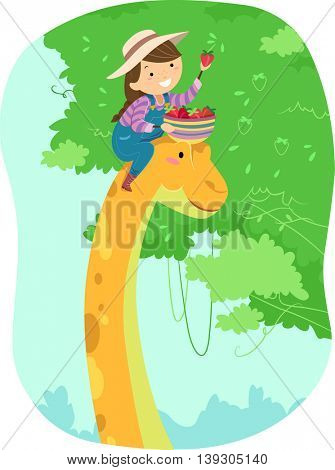 Illustration of a Little Girl Riding on a Dinosaur Picking Fruits