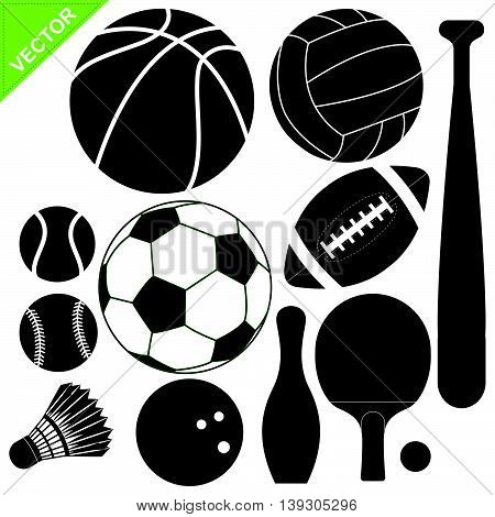 Sport equipment silhouettes vector on white color background