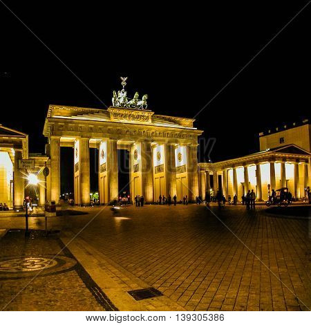 Brandenburger Tor Berlin At Night Hdr
