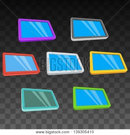 Tablet pc computers set with blank screen. Vector illustration of lcd screen pad on black transparent background. Ad template for your apps design.