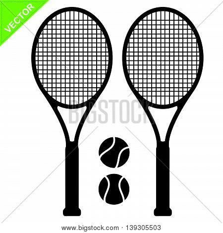 Tennis racket silhouettes vector  on white color background