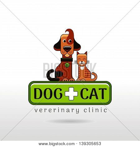Vector linear illustration of funny dog and cat on white background. Logo icon design template. Abstract symbol for pet shop, veterinary clinic, animal care concepts.