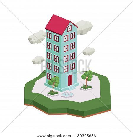building isometric isolated icon design, vector illustration  graphic