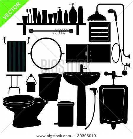 Bathroom silhouette vector collections on white color background