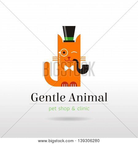 Vector linear illustration of funny vintage cat in hat, bow tie, with pipe and eyeglass monocle on white background. Logo icon design template. Abstract concept symbol for pet shop, veterinary clinic