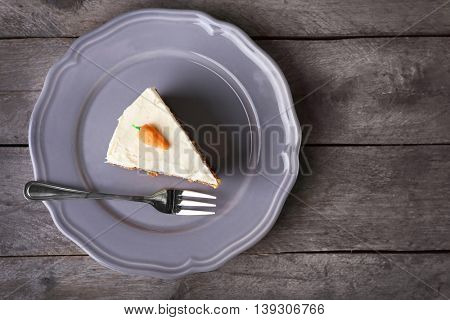 Slice of carrot on the plate, top view