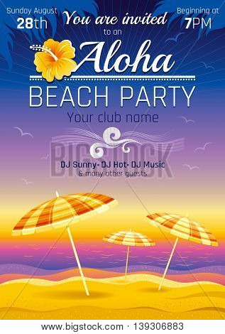 Vector illustration of party invitation design for hawaiian luau beach party with sand and sunset sea background, palm leaves, hibiscus flower, sun parasols and more summer travel symbols