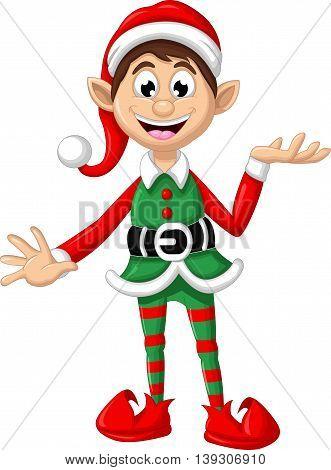happy Christmas elf cartoon for you design