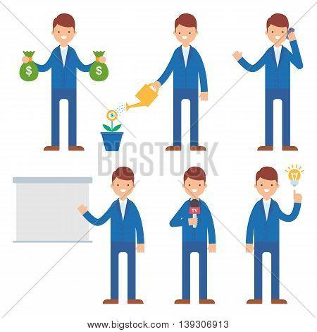 Businessman vector set vector illustration flat style