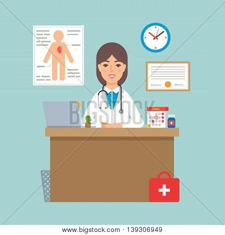 Vector illustration of a doctor sitting at the table in the office