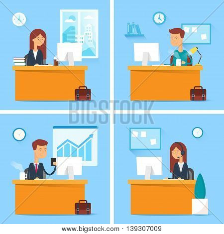 Vector set of business people working in the office
