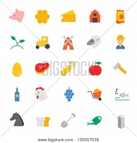 Farm, agriculture, rural, tools. Set of vector icons