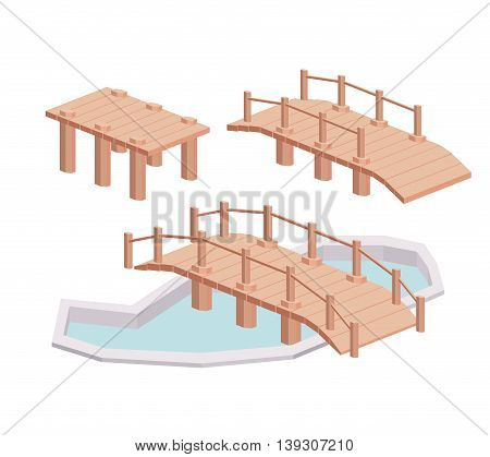 bridge wood isometric  isolated icon design, vector illustration  graphic