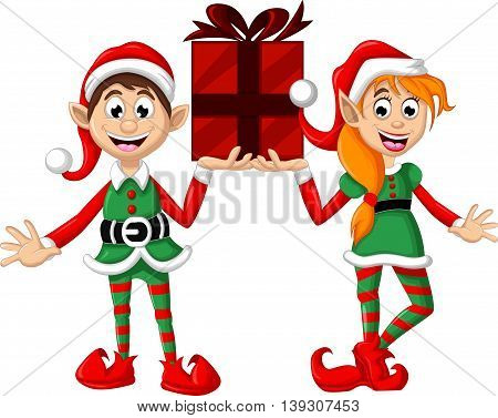funny two Christmas elf holding a gift