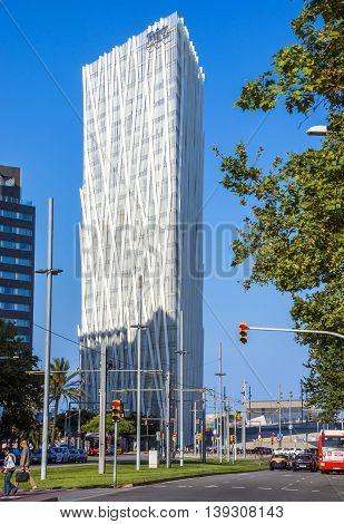 BARCELONA SPAIN - JULY 12 2016: New modern architecture in the Diagonal Mar i el Front Maritim del Poblenou area.