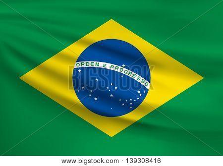 Flag of Brazil. Vector illustration. EPS 10.