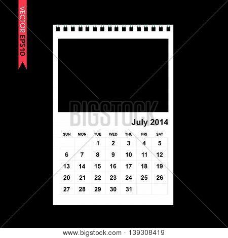 July 2014 calendar vector on white color background