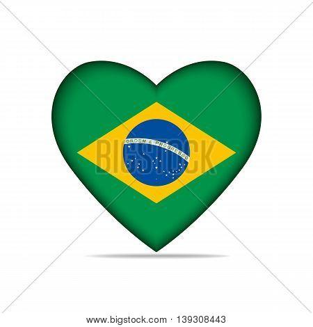 Heart with Brazil flag . Vector illustration.