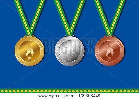 Set of winner medals with colors of brazil ribbon. Vector illustration.