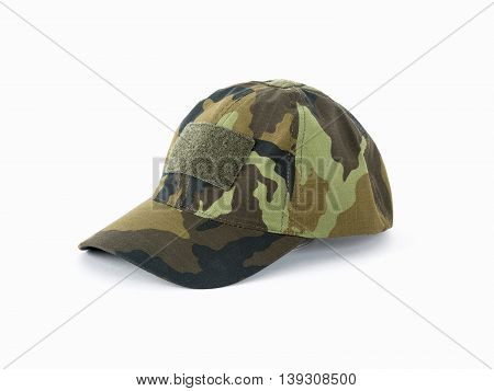 Camouflage cap on a white background, concept