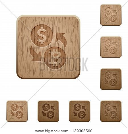 Set of carved wooden Dollar Bitcoin exchange buttons in 8 variations.