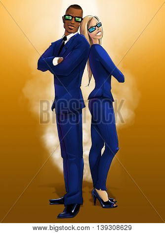 Posing male and female elegantly dressed in blue secret agents on orange background digital illustration