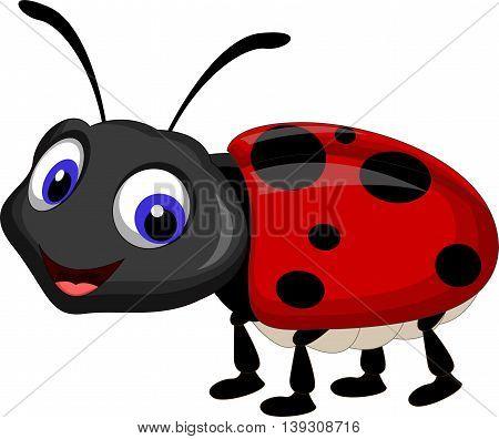funny Ladybug cartoon smiling for you design