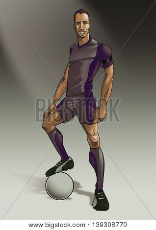 Vintage muscular male soccer player posing with leg on football digital illustration