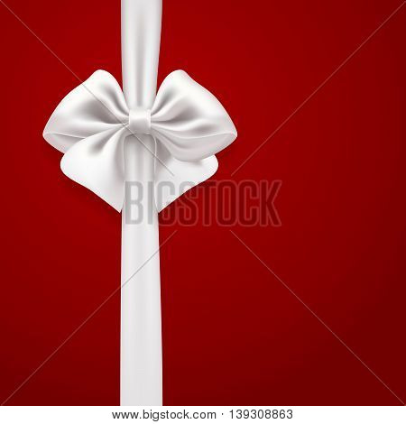 white silky bow on red background. vector