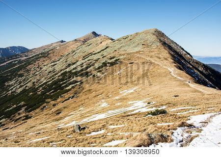 Footpath leading up the peak Chopok Low Tatras Slovak republic. Hiking theme. Beautiful place. Mountains scene.