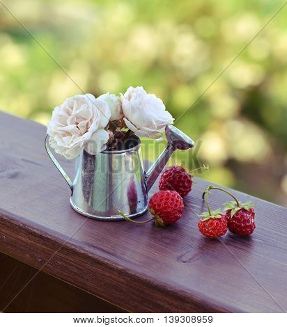 Small watering can with ripe strawberry and small beautiful roses on wooden planks.  Summer seasonal background, rural countryside still life, vintage or retro concept