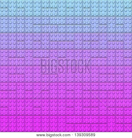 Plastic construction bricks background in blue and purple colors