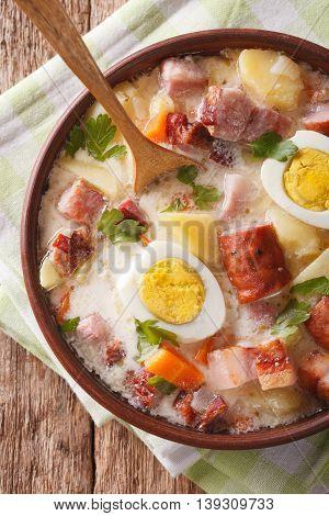 Polish Food: Zurek Soup With Sausage Close-up. Vertical Top View