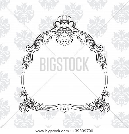 Vintage Baroque Royal Vector Frame on classic pattern. Elegant royal frame for mirrors cards invitations etc