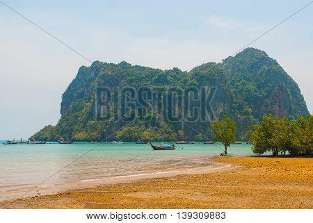 Beautiful Sea And High Mountains. Peninsula Of Railay. Krabi, Thailand.