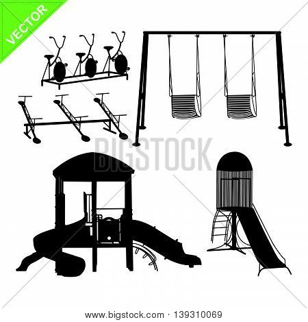 Playground silhouettes vector  on white color background