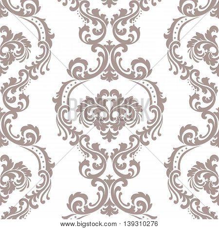 Vintage Vector Floral ornament damask pattern. Elegant luxury texture for backgrounds and invitation cards. Pastel color ornament