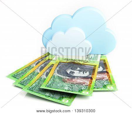 Cloud computing concept, Australian dollar. 3d illustration.
