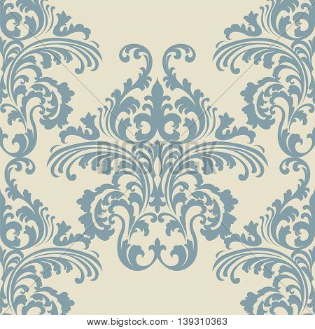 Vintage Vector Rococo Floral ornament damask pattern. Elegant luxury texture for backgrounds and invitation cards. Pastel blue beige color ornament