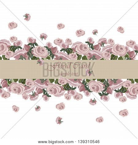 Vector Roses Vintage Invitation card. Delicate Illustration border of watercolor roses flowers for wedding greeting cards Valentine's day birthday.. Rose quartz pink color