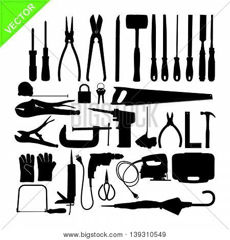 Set of Tools silhouette vector on white color background
