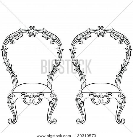 Fabulous Rich Rococo Chairs set. French Luxury rich carved ornaments furniture. Vector Victorian wealthy Style furniture