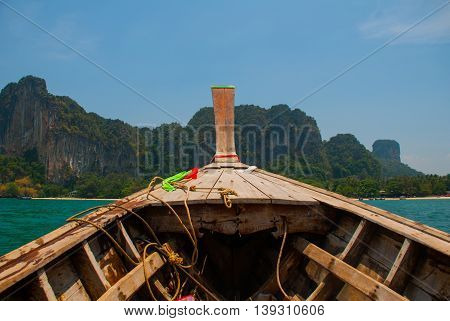 Islands. Wooden Boat. Krabi, Thailand.