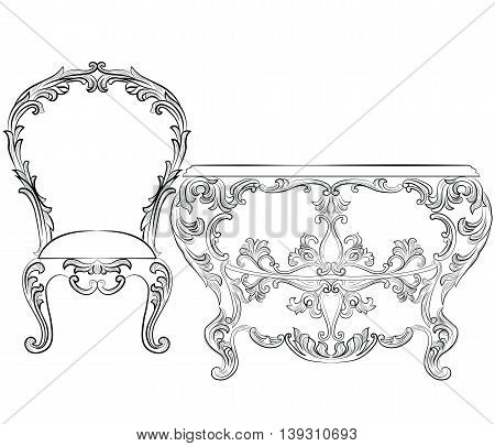 Fabulous Rich Rococo Furniture set. French Luxury rich carved ornaments furniture. Vector Victorian wealthy Style furniture