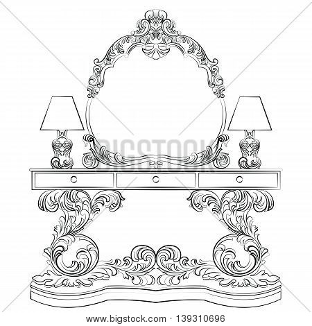Glamorous Fabulous Baroque Rococo Console Table and Mirror frame set. Vector French Luxury rich carved ornaments furniture and Wall lamps. Victorian wealthy Style furniture